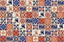 BLUE & TERRACOTTA Mexican Tile Handmade Talavera Backsplash Handpainted Mosaic