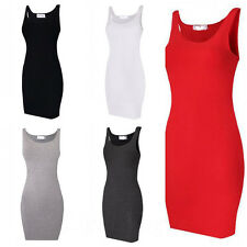 Y New Summer Womens Sleeveless Package Hip Skirt O-neck Vest Slim Casual Dress Z
