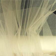IVORY Sparkle Glitter Net Tulle Veiling Tutu Bridal Craft Fabric Material 150cm