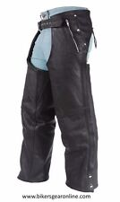 MEN'S MOTORCYCLE BLACK LEATHER RIDING CHAP PANTS REMOVABLE LINER W/ 4 POCKETS