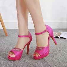 New Womens High Heels Peep Toe Ankle Buckle Platform Sandals Shoes Pump Size