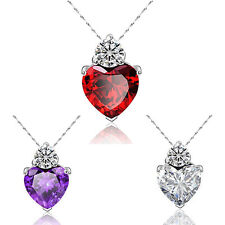 Women Stylish Love Heart Crystal Rhinestone Chain Pendant Necklace Jewelry Gift