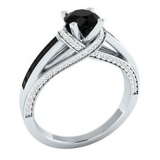 1.35 ct Black Spinel & White Sapphire Solid Gold Wedding Engagement Ring