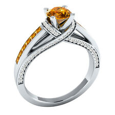 1.35 ct Yellow Citrine & White Sapphire Solid Gold Wedding Engagement Ring