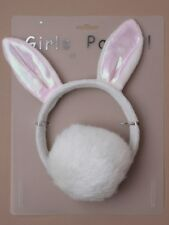 PINK AND WHITE BUNNY RABBIT EARS WITH TAIL, HEN PARTY FANCY DRESS KIDS PARTY!
