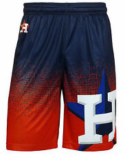 Houston Astros Mens Gradient Polyester Shorts Gym Basketball Training Workout