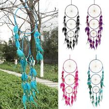 4 Colors Choice Three Loops Dream Catcher With Feathers & Turquoise Home Hanging