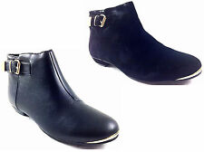 NEW WOMEN LADIES GIRLS ANKLE GOLD BUCKLE PIXIE CHELSEA CASUAL ANKLE BOOT SIZE3-8