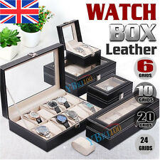 6-24 Grids Leather Watch Jewelry Display Storage Holder Case Box Organizer Gifts