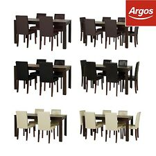 HOME Penley Walnut Stain Extendable Dining Table & Chairs -Seating/Colour Choice