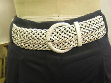 "VINTAGE 60s 80s STYLE WHITE PLAITED WIDE BELT ""BNWOT"""