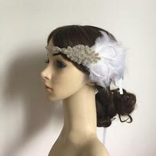 White&Black Feather Beaded Vintage Headband 1920s Flapper Great Gatsby Headpiece