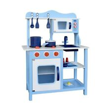 Kids Wooden Kitchen Pretend Play Set Blue with 18 Accessories