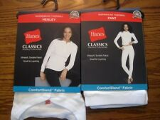 HANES Classics Womens Thermal PANTS & L/S Henley TOP SET M & L Grey or White NIP