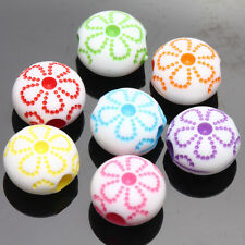20/40Pcs Mixed Acrylic Flower Loose Spacer Beads Charms Jewelry Findings 10*6mm