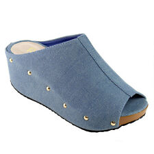 Women's Mules Slip On Platform Denim Wedges(Half A Size Small) JEAN