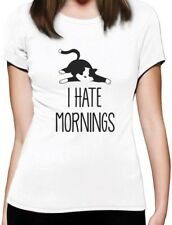 I Hate Mornings Lazy Cat Funny Women T-Shirt Gift Idea