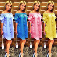 Fashion Women Off Shoulder Blouse Summer Casual Party Cocktail Mini Short Dress