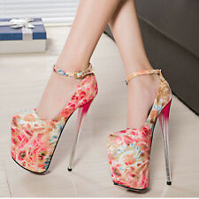 Fashion Womens Colorful High Stiletto Heels Pumps Open Toe Party Nightclub Shoes