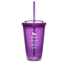 16oz Double Wall Acrylic Tumbler Pool Cup With Straw Keep Calm Ride On Horse