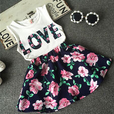 Toddler Baby Girl Clothes Set Blouse Top+Floral Skater Skirt Infant Outfits 2-6Y