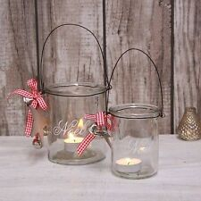 NOEL GLASS CANDLE HOLDER WITH RED GINGHAM RIBBON/BELLS AND STAR CHRISTMAS