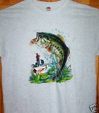 BASS FISHING FROM THE BOAT Grey T Shirt Sz Sm - 6XL   Tight Lines Feel Great