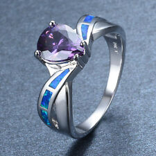 5ct Pear Cut Amethyst Blue Fire Opal White Gold Filled Wedding Party Ring Sz 6-9