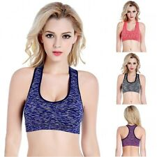 Ladies Running Crop Tops Tank Sports Bra Yoga Fitness Workout Padded Racerback