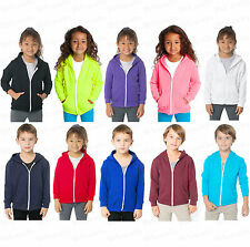 Kids Unisex Girls Boys Plain Hooded Fleece Hoodie Zip Zipper Top Coat Years 2-13
