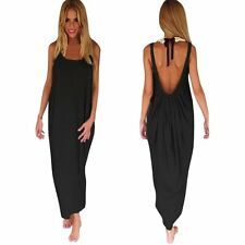 Sexy Womens Summer Evening Party Beach Dress Lady Long Maxi Solid Dress S/M/L