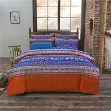 Ethnic Style Pillowcase Quilt Duvet Cover Bed Set Bedlinen All Size Blue ywy L