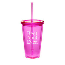 16oz Double Wall Acrylic Tumbler Pool Beach Cup With Straw Best Aunt Ever