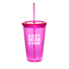 16oz Double Wall Acrylic Tumbler Pool Beach Cup With Straw Best Mom Ever