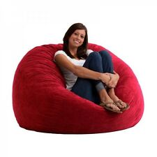 Large Bean Bag Chair Memory Foam Filled 4' Cozy Lounger Soft Sack Dorm Seat Red
