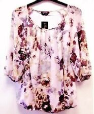 SALE !!!!  MARINA KANEVA LINED PINK & BROWN FLORAL CHIFFON TOP SIZE 16 OR 18.