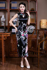 NEW Chinese Sleeveless Women's Silk Satin Long Dress Cheong-sam Black SZ S-2XL