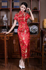 NEW Chinese Reds Women's Part Silk Satin Long Dress Cheong-sam SZ S-2XL
