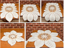 Floral tablecloth, table runner, doily with embroidered flowers and leaves