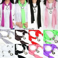 New fashion Solid color pendant necklace shawl jewelry charm scarf Scarves EA77