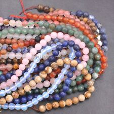 1strand Natural Gemstone FACETED Round Spacer Loose Beads 4MM 6MM 8MM 10MM