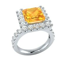 3.35 ct Yellow Citrine & White Sapphire Solid Gold Wedding Engagement Ring