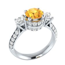 1.45 ct Yellow Citrine & White Sapphire Solid Gold Wedding Engagement Ring