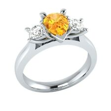 0.90 ct Yellow Citrine & White Sapphire Solid Gold Wedding Engagement Ring