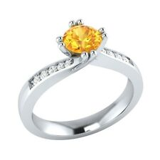 0.56 ct Yellow Citrine & White Sapphire Solid Gold Wedding Engagement Ring