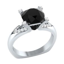 2.20 ct Black Spinel & White Sapphire Solid Gold Wedding Engagement Ring