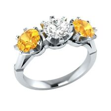 2.10 ct Yellow Citrine & White Sapphire Solid Gold Wedding Engagement Ring