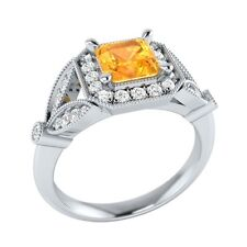 0.95 ct Yellow Citrine & White Sapphire Solid Gold Wedding Engagement Ring