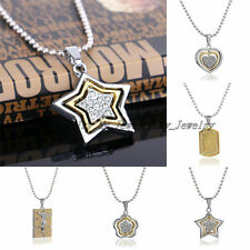 Silver Plated Crystal Star Flower Pendant Necklace Bead Chain Fashion Jewelry