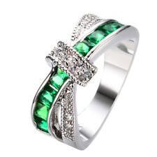 Cross Green Zircon Women's 10K White Gold Filled Engagement Party Ring Size 6-10